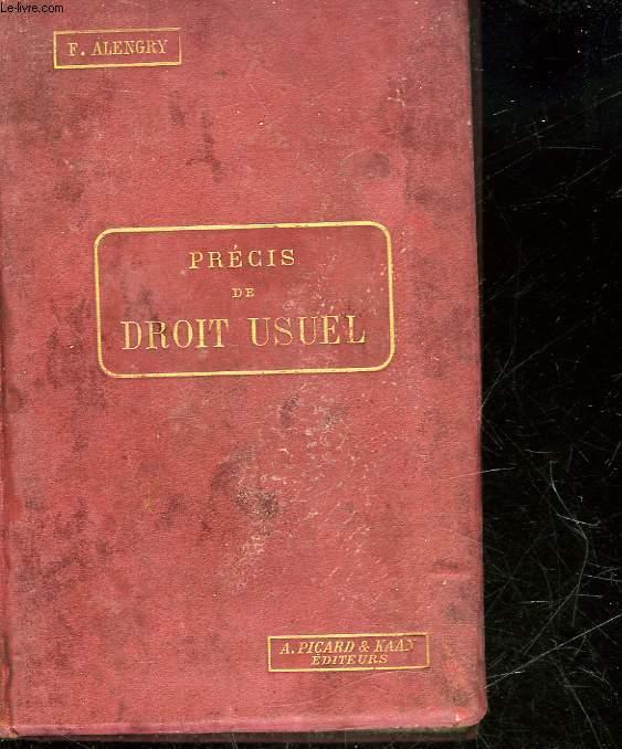 PRECIS DE DROIT USUEL - ENSEIGNEMENT SECONDAIRE - 1° CYCLE 3°B