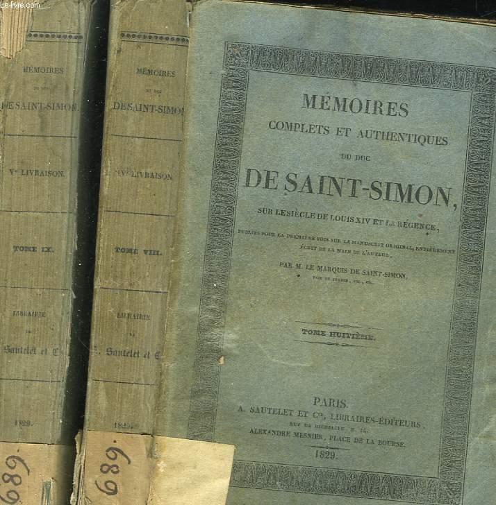MEMOIRES COMPLETS ET AUTHENTIQUES DU DUC DE SAINT-SIMON SUR LE SIECLE DE LOUIS 14 ET LA REGENCE - 20 TOMES