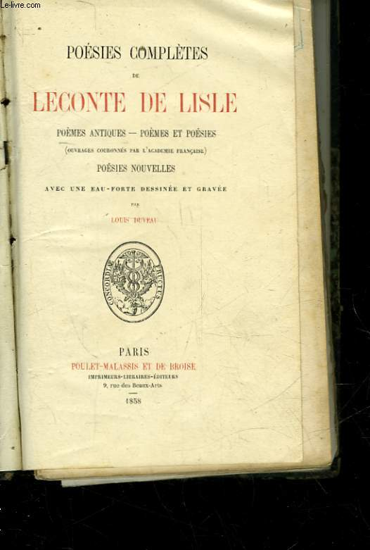 POESIES COMPLETES DE LECONTE DE LISLE