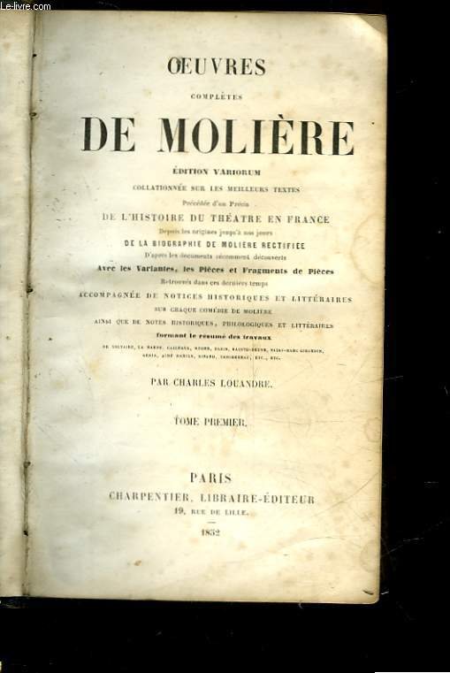 OEUVRES COMPLETES DE MOLIERE - TOME 1