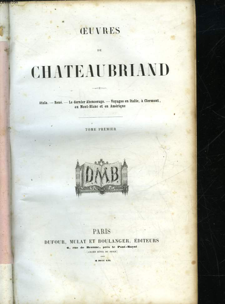 OEUVRES DE CHATEAUBRIAND - TOME 1