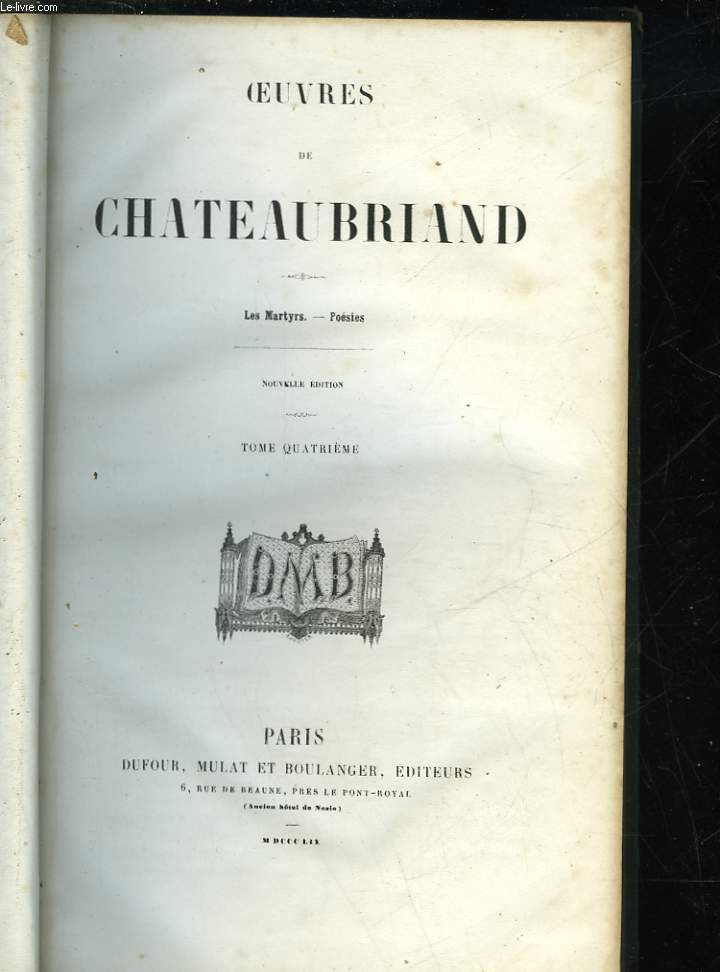 OEUVRES DE CHATEAUBRIAND - TOME 4