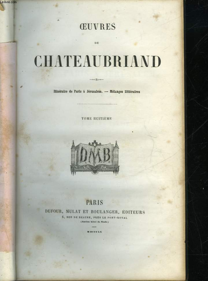 OEUVRES DE CHATEAUBRIAND - TOME 8