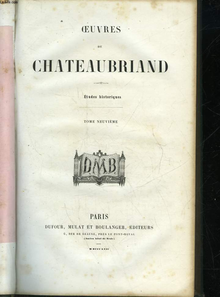 OEUVRES DE CHATEAUBRIAND - TOME 9