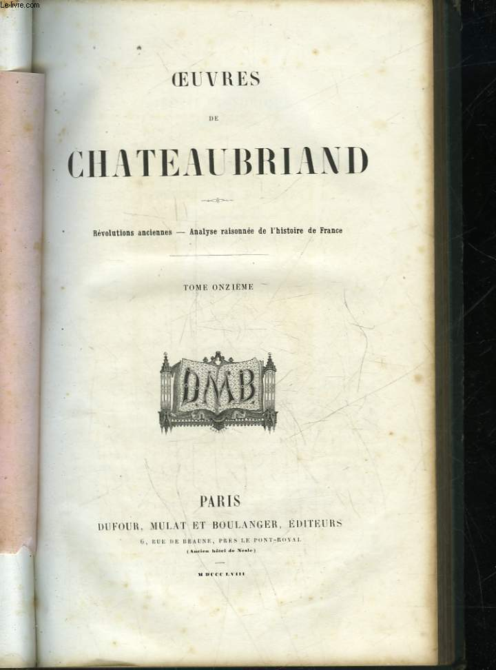 OEUVRES DE CHATEAUBRIAND - TOME 11