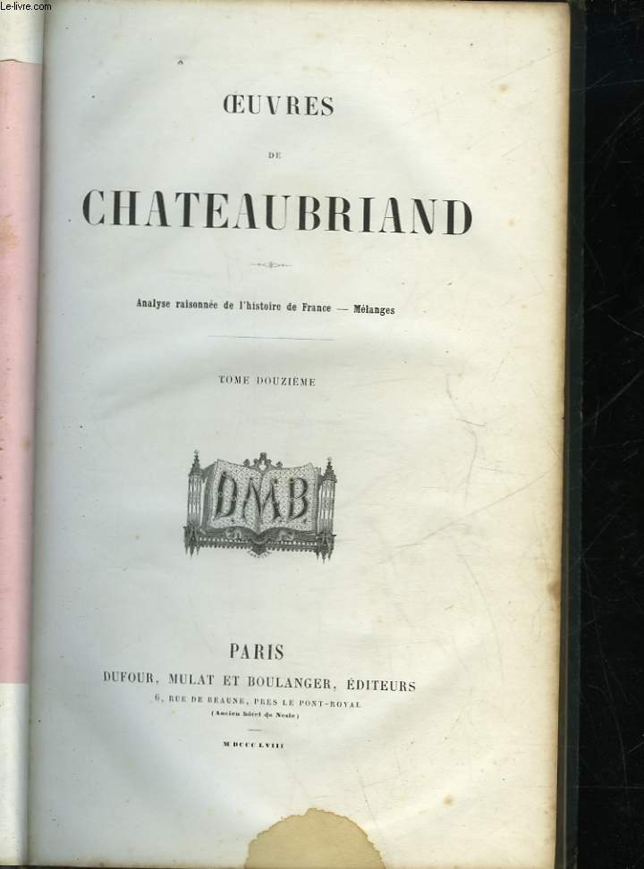 OEUVRES DE CHATEAUBRIAND - TOME 12