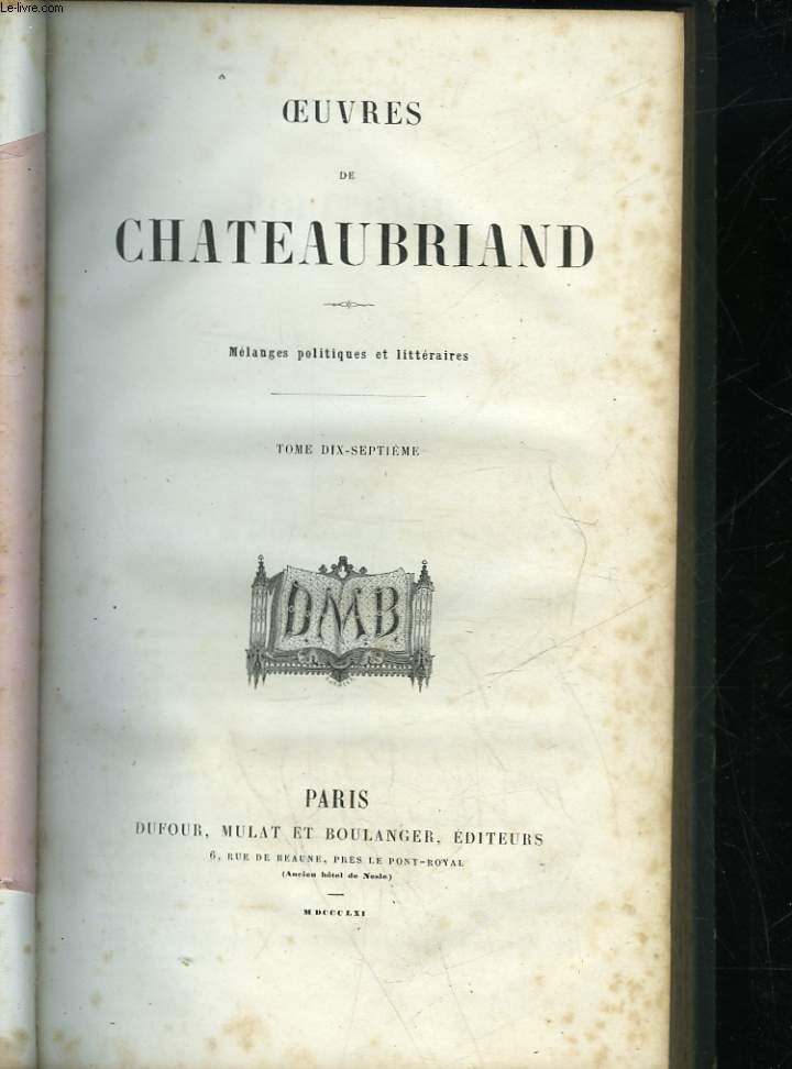 OEUVRES DE CHATEAUBRIAND - TOME 17
