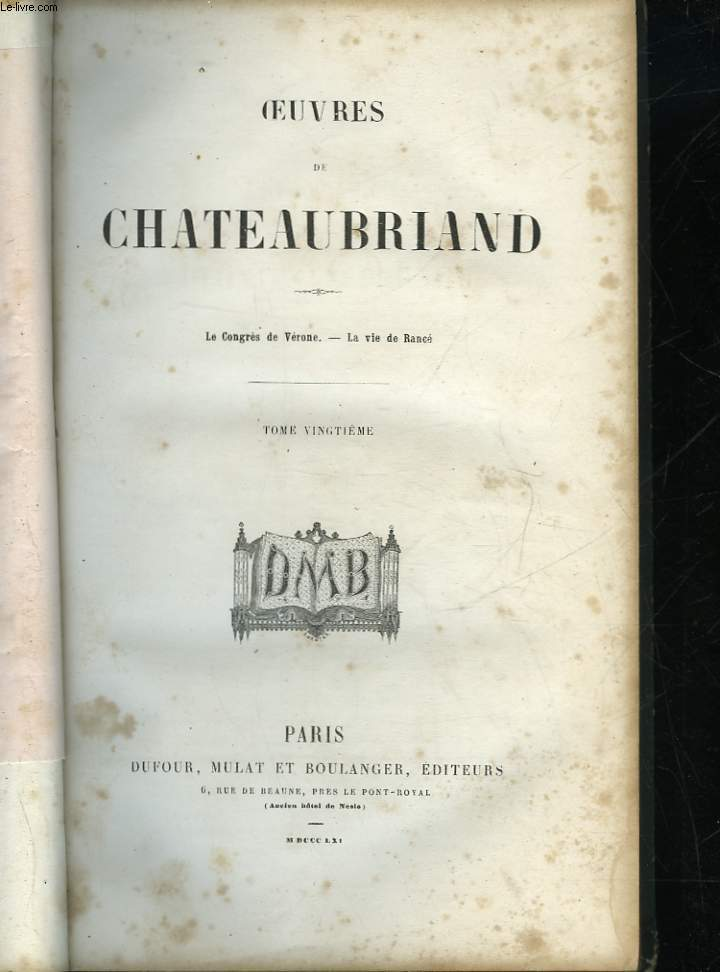OEUVRES DE CHATEAUBRIAND - TOME 20