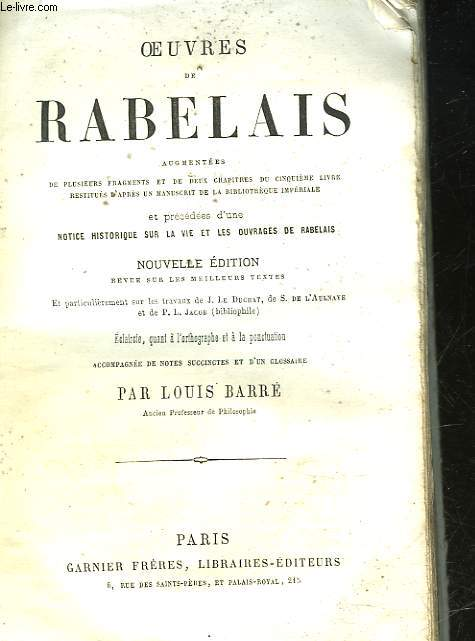 OEUVRES DE RABELAIS - INCOMPLET