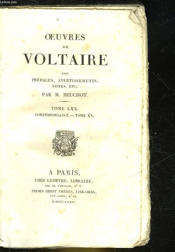 OEUVRES DE VOLTAIRE - TOME 70 - CORRESPONDANCE - TOME 20