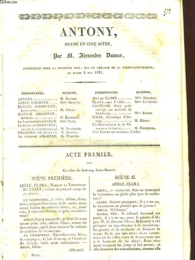 ANTONY - DRAME EN 5 ACTES
