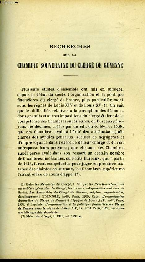 RECHERCHES SUR LA CHAMBRE SOUVERAINE DU CLERGE DE GUYENNE