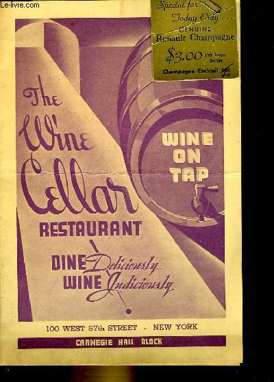 1 CARTES DES VINS DE DU RESTAURANT CELLAR A NEW YORK