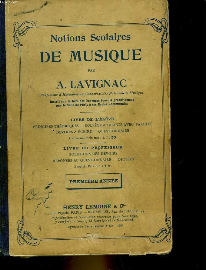 NOTIONS SCOLAIRES DE MUSIQUE - PREMIER ANNEE