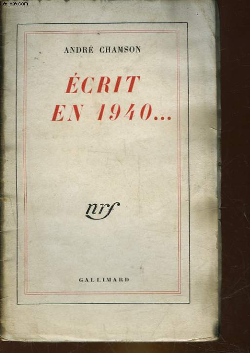 ECRIT EN 1940... NRF