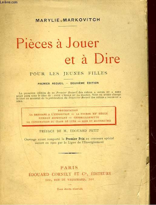 PIECES A JOUER ET A DIRE - POUR LA JEUNE FILLES