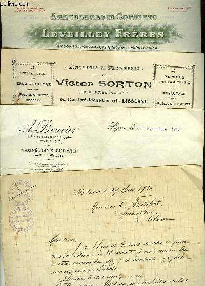 1 LOT DE 4 FACTURES ANCIENNES - LEVEILLEY FRERES - BOUVIER - VICTOR SORTON