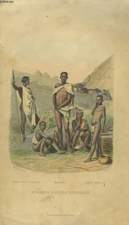 1 GRAVURE 19° EN COULEURS - AFRIQUE AUTRO CENTRALE EN COSTUME
