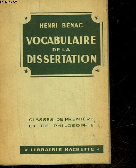 VOCABULAIRE DE LA DISSERTATION - CLASSE DE 2°, 1° PHILOSOPHIE