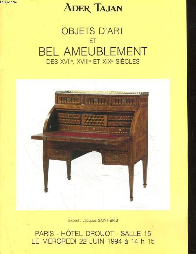 1 CATALOGUE DE VENTE AUX ENCHERES - OBJETS D'ART ET BEL AMEUBLEMENT