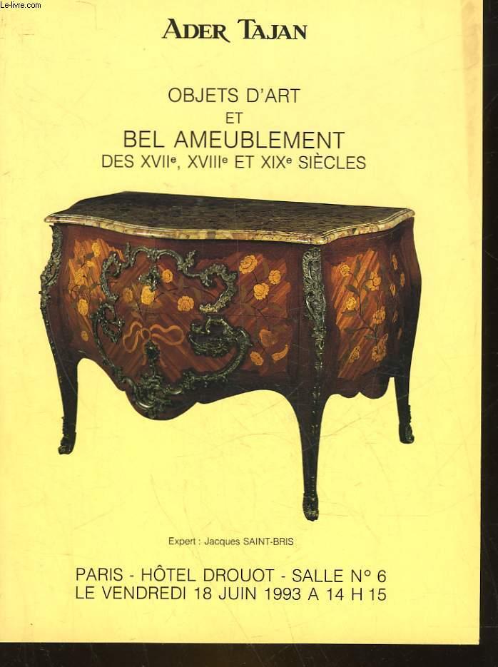 1 CATALOGUE DE VENTE AUX ENCHERES - OBJETS D'ART ET BEL AMEUBLEMENT DES 17° 18° ET 19° SIECLES