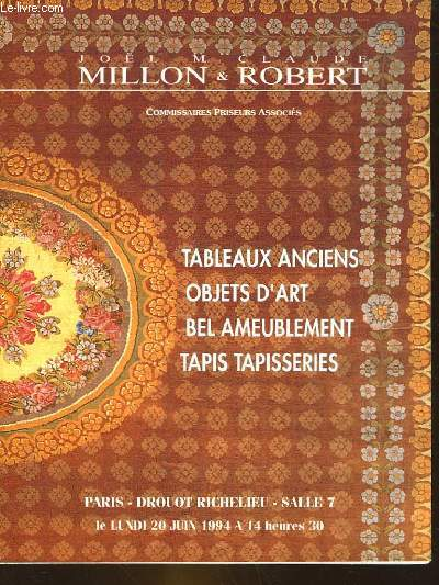 1 CATALOGUE DE VENTE AUX ENCHERES - TABLEAUX ANCIENS - OBJETS D'ART - BEL AMEUBLEMENT - TAPIS TAPISSERIES PROVENANT DE SUCCESSIONS