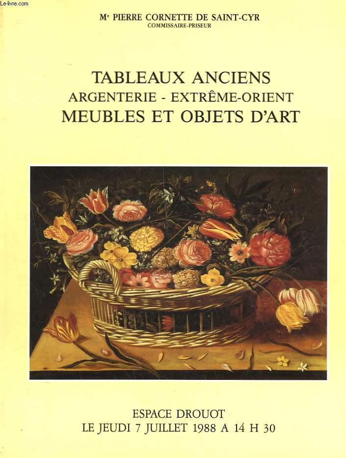 1 CATALOGUE DE VENTE AUX ENCHERES - TABLEAUX ANCIENS - ARGENTERIE - EXTREME-ORIENT - MEUBLES ET OBJETS D'ART