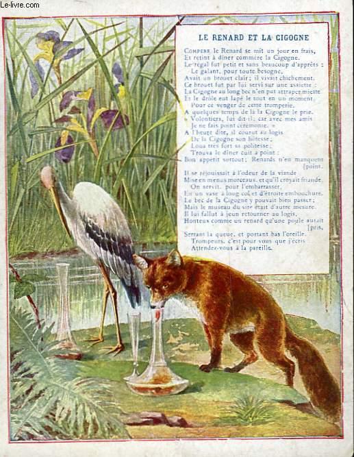 1 gravure 20 en couleurs le renard et la cigogne collectif - Le renard et la cigogne dessin ...