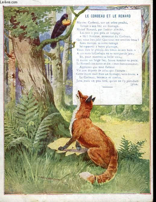 1 gravure 20 en couleurs le corbeau et le renard collectif - Le renard et la cigogne dessin ...