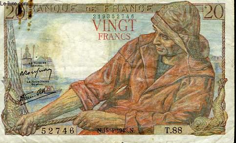 1 BILLET DE 20 FRANCS FRANCAIS