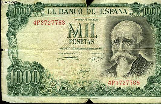 1 BILLET DE 1000 PESETAS