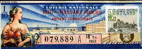 1 BILLET RENAISSANCE FRANCAISE - LOTERIE NATIONALE
