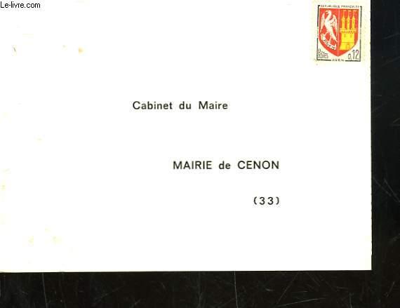 1 CARTE D'INVITATION VIERGE DE LA MAIRIE DE CENON