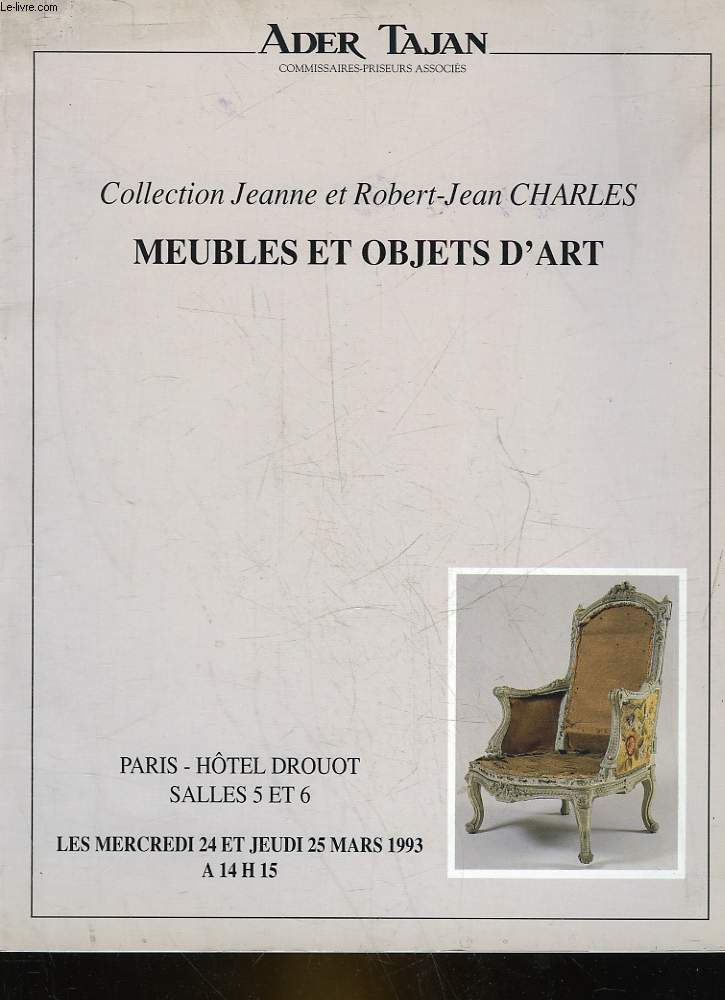 1 CATALOGUE DE VENTE AUX ENCHERES - COLLECTION JEANNE ET ROBERT-JEAN CHARLES