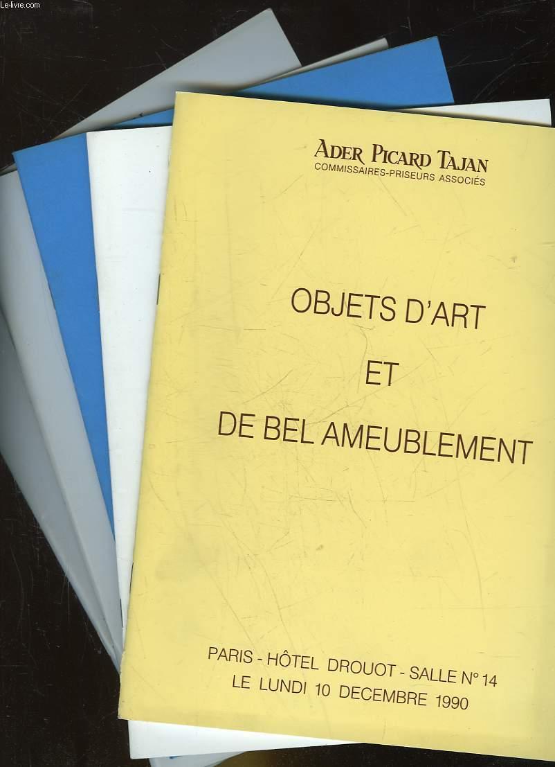 1 LOT DE 5 CATALOGUES DE VENTE AUX ENCHERES -  OBJETS D'ART ET DE BEL AMEUBLEMENT
