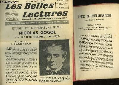 ETUDES DE LITTERATURE RUSSE NICOLAS GOGOL + JOURNAL LES BELLE LECTURES - 4° ANNEE - N°140