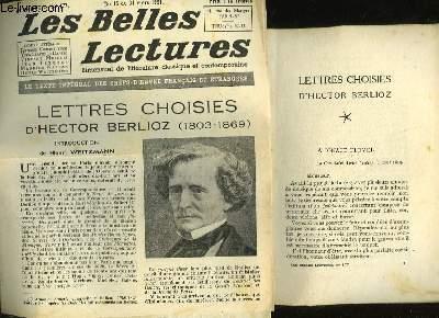 LETTRES CHOISIES - LES BELLES LECTURES - 6° ANNEE - N°177