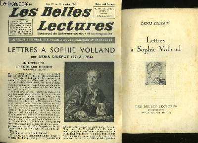 LETTRES A SOPHIE VOLLAND - LES BELLES LECTURES - 5° ANNEE - N°148