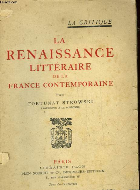 LA RENAISSANCE LITTERAIRE DE LA FRANCE CONTEMPORAINE
