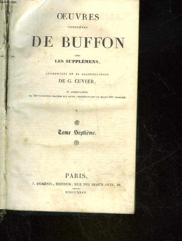 OEUVRES COMPLETES DE BUFFON - TOME 7