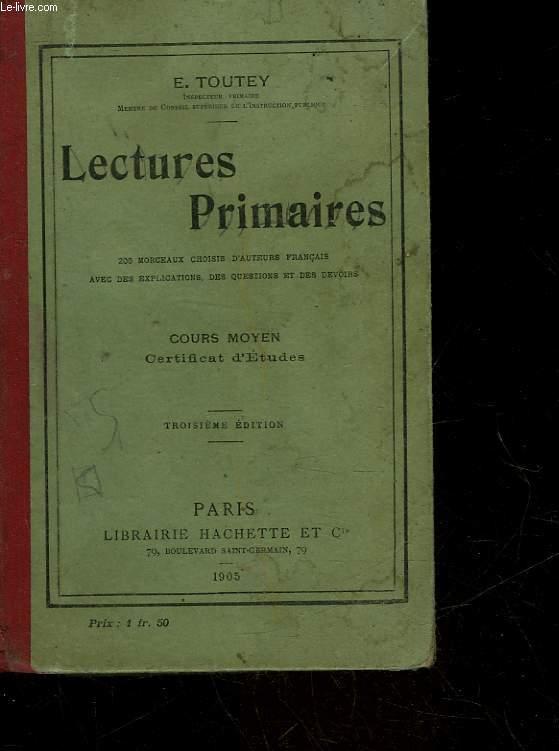 LECTURES PRIMAIRES - COURS MOYEN CERTIFICAT D'ETUDES