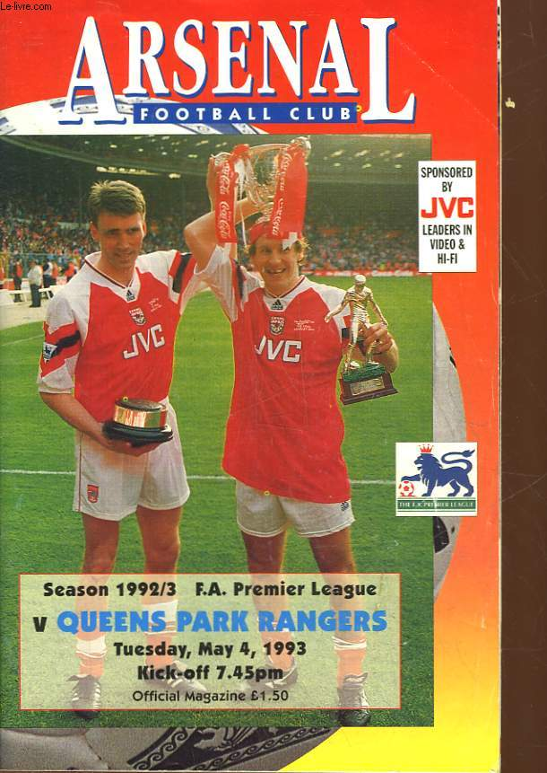 ARSENAL - FOOTBALL CLUB - SEASON 1992/93