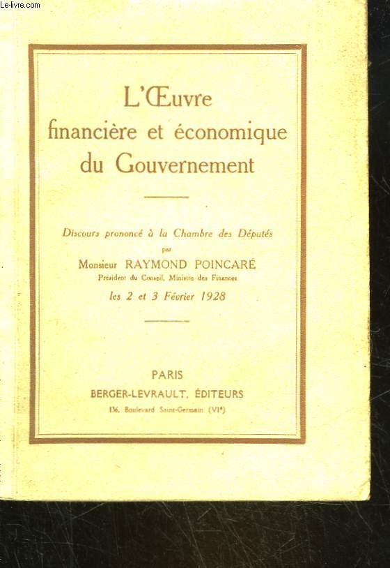 L'OEUVRE FINANCIERE ET ECONOMIQUE DU GOUVERNEMENT