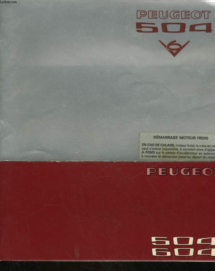 PEUGEOT 504 - V6 - UTILISATION, ENTRETIEN - CARNET D'ENTRETIEN
