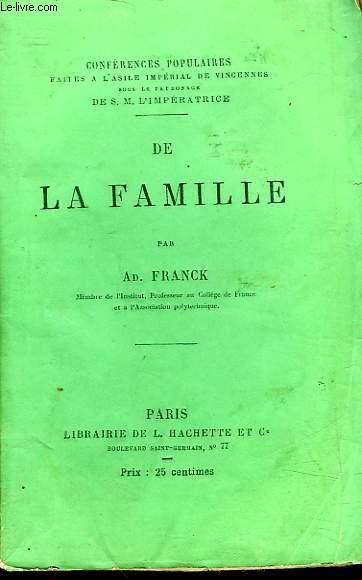 DE LA FAMILLE