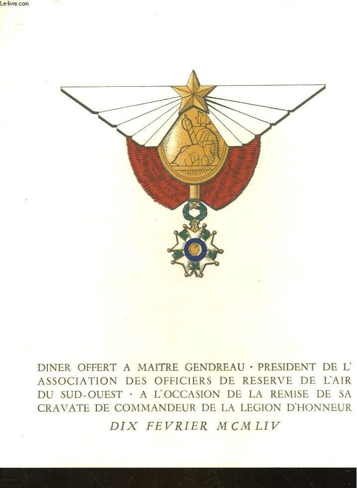 1 MENU A L'OCASSION DE LA REMISE DE LA LEGION D'HONNEUR