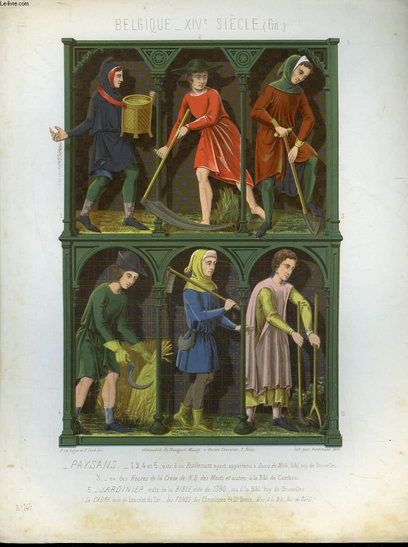 1 gravure 19 couleurs belgique 14 siecle fin for Jardinier belgique