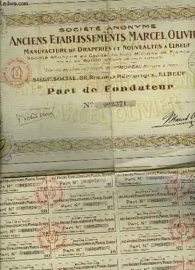 1 PART DE FONDATEUR - SOCIETE ANONYME DES ANCIENS ETABLISSEMENTS MARCEL OLIVIER