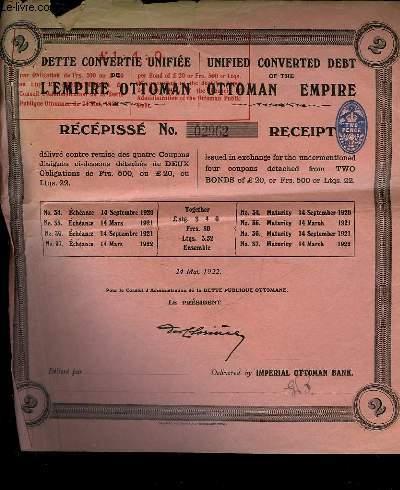 1 DETTE CONVERTIE UNIFIEE DE L'EMPIRE OTTOMAN - RECEPISSE N�2962