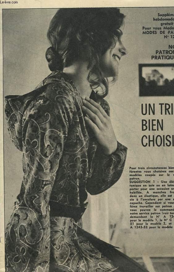 1 PATRON : TRIO BIEN CHOISI - TAILLE 42 AU 44